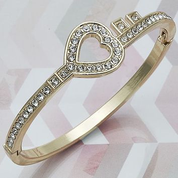 Gold Tone Women Heart Individual Bangle, with White Crystal, One size fits all by Folks Jewelry