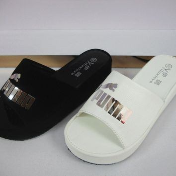 Korean Summer Simple Design Thick Crust Wedge Platform Slippers [415631704100]
