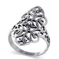 Gem Avenue 925 Sterling Silver 1.1 inch Design Filigree Flower Ring