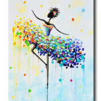 """Dancer en Pointe"" GICLEE PRINT Art Abstract Dancer Painting Colorful CANVAS Prints Dance Wall Decor"