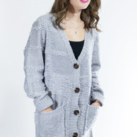 Be There, Wear Square Oversized Knit Cardigan in Gray