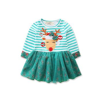 CANIS New Style Xmas Toddler Kid Baby Girls Dress Long Sleeve Christmas Fancy Dress Striped Party Tutu Dresses