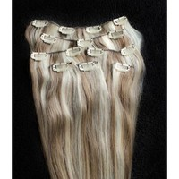 """Full Head 18"""" 100% REMY Human Hair Extensions 7Pcs Clip in #8/613 Light Brown Blonde Mix"""