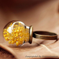 Nature Inspired Jewelry Real Dried Clover Rings Gift (HM0174-YELLOW)