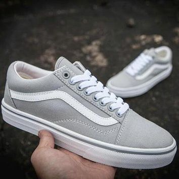 VANS Classic Old Skool Popular Women Men Casual Grey Low Top High Top Flats Shoes Sneakers Sport Shoes I12510-1