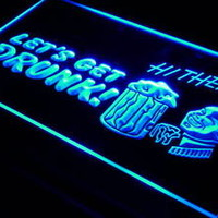 j266-b Let's Get Drunk Beer Bar Pub Neon Light Sign