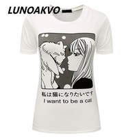 DCCKF4S I Want To Be A Cat Manga T-Shirt Pastel Goth Anime Grunge Goth Tumblr Clothing Kawaii Hipster Punk Indie Homies Cute