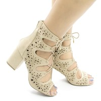 Susie25 Natural By Wild Diva, Laser Perforated Corset Lace Up Ankle Block Heel Booties