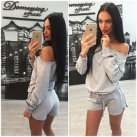 Women's Fashion Hot Sale Stylish Shorts Bottom & Top Sportswear Set [4956090180]