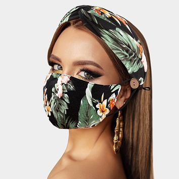 Tropical Flower Cotton Fashion Protective Mask & Matching Headband