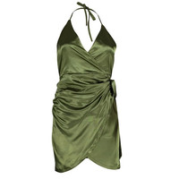 Sexy dresses  evening party Womens Satin Strappy Sexy Dress Asymmetric V Neck Backless Sleeveless Mini Dress Green Pink #23 GS