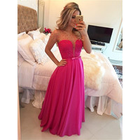 A Line Short Sleeve Charming Hot Pink Prom Dress