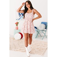 Sweet Remarks Ruffle Tiered Floral Mini Dress (White/Red Ditsy)