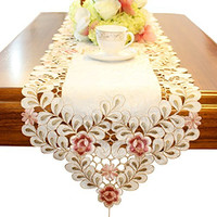 Flowers embroidered short satin floral table runner tapestry
