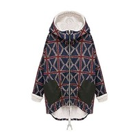 Abody Winter Women Fleece Hoodie Check Pattern Slouchy Oversized Cloak Jacket Warm Coat
