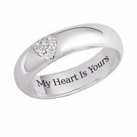 Sterling Silver 'My Heart is Yours' Engraved CZ Heart Promise Ring | Overstock.com