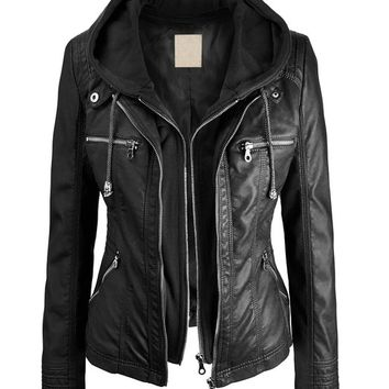 LL Womens Removable Hoodie Motorcyle Jacket S BLACK