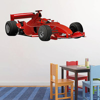 kcik186 Full Color Wall decal car racing formula race speed ring children's bedroom
