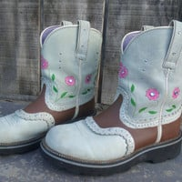 Upcycled Hand Painted Womens Cowboy Boots - Size 9.5 Ariat Fat Baby