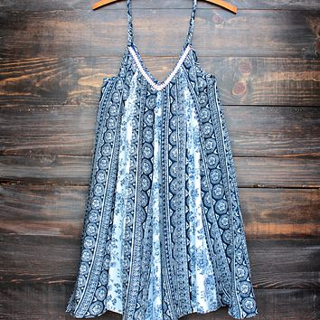 Sunday Brunch Flowy Day Dress in Navy Print
