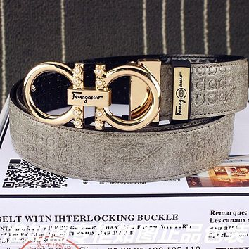 Ferragamo Women's  Men's Fashion Smooth Buckle Belt Leather Belt Monogram Leather Belt