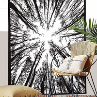 Forest Tree of Life Sky Tapestry Black and White Wall Decor Art for Bedroom Living Room Dorm 80 X 60 inches