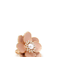 FOREVER 21 Kitschy Floral Cocktail Ring Peach/Gold 7