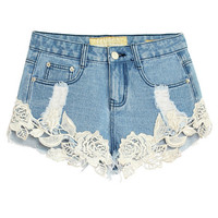 Light Blue Denim Crochet Lace Embroidered Frayed Shorts