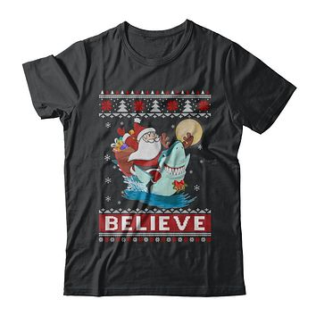 Believe In Santa Riding Shark Ugly Christmas Sweater