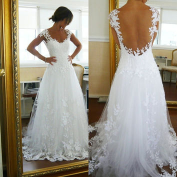 Lace Wedding Dress, Open Back Wedding Dress, A Line Wedding Dress, Elegant Wedding Dress / Wedding Gown with Straps and Appliques