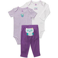 """Carter's Girls 3 Piece """"Daddy's Girl"""" Owl Turn Me Around Set with Long Sleeve Bodysuit, Short Sleeve Bodysuit and Pant"""