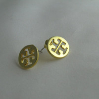 Tiny Tory Burch inspired stud earrings - Gold Plated - Nickel Free